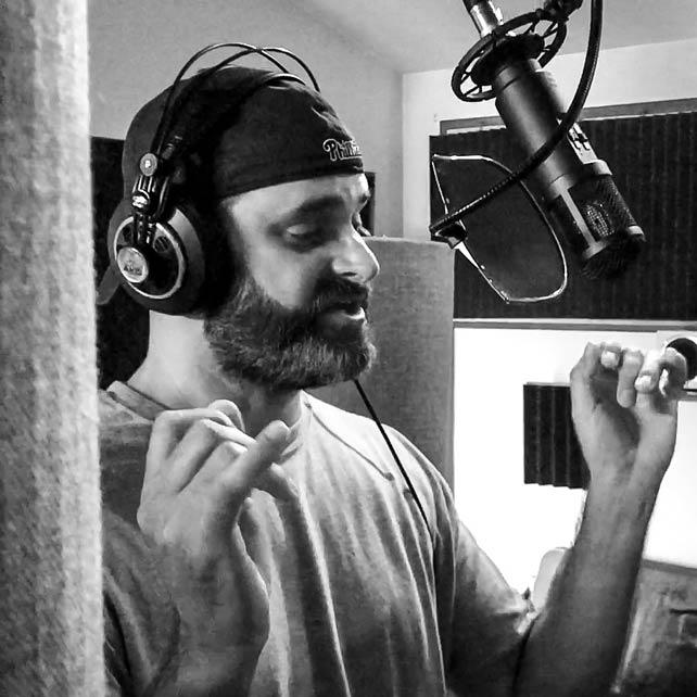 Dax Roggio recording a voice-over track